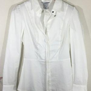 H&M White Peplum Button Down Shirt.